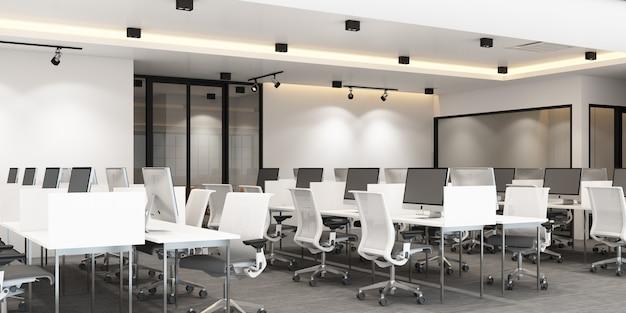 Рабочая зона в современном офисе с ковровым покрытием и конференц-зал