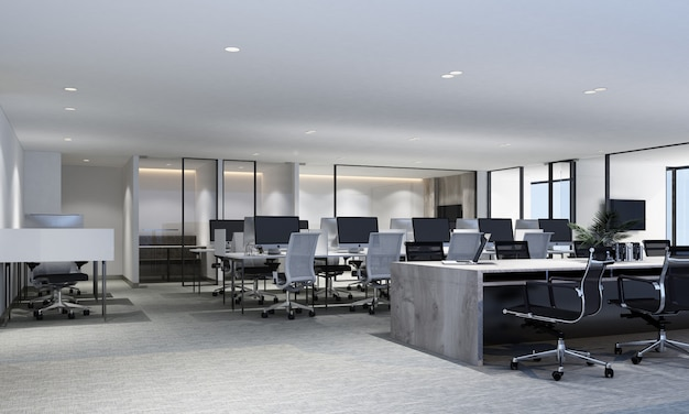 Working area in modern office with carpet floor and meeting room. interior 3d rendering Premium Photo