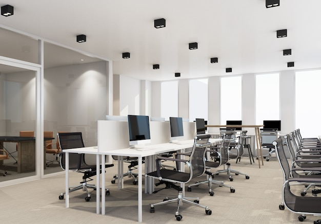 Working area in modern office with carpet floor and meeting room interior 3d rendering