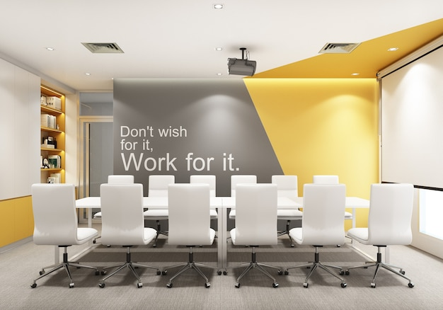 Working area in modern office with carpet floor and meeting room yellow and gray color. interior 3d rendering