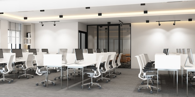 Working area in modern office with carpet floor and meeting room