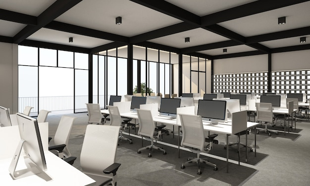 Working area in modern office with carpet floor in modern white tone style and meeting room. interior 3d rendering