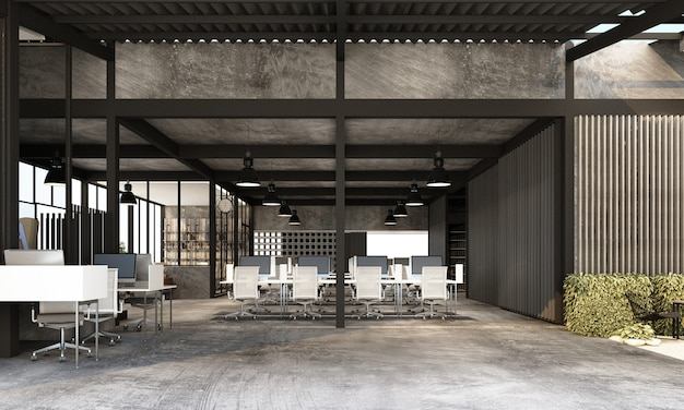 Working area in modern office with concrete floor in industrial loft