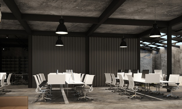 Working area in modern office with concrete floor in industrial loft