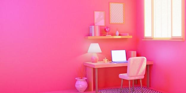 Работа на дому. образ жизни абстрактного искусства концепции молодого фрилансера работая от дома, plant.3d представляет.