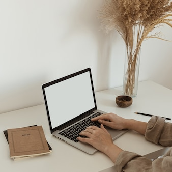 在宅勤務のコンセプト。ラップトップに取り組んでいる女の子。美的ミニマリストワークスペースの背景。