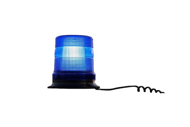 흰색 배경에 격리된 파란색 자동 점멸 장치를 작동합니다. 파란색 경찰 램프입니다. 자동 점멸 장치에서 와이어가 늘어납니다.