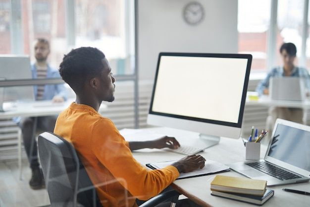 Working by computer