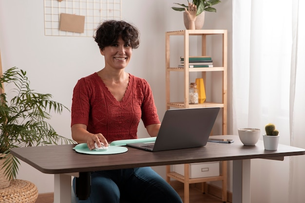 Working from home in ergonomic workstation