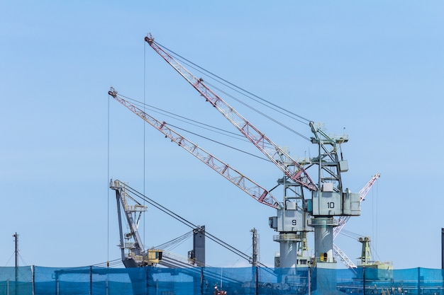 Working large shipyard cranes in rayong,thailand.