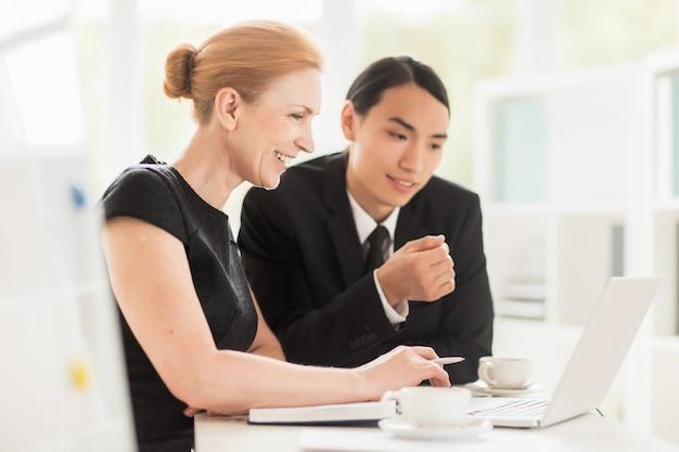 Working meeting in spacious boardroom