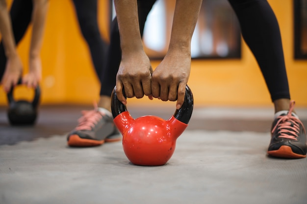 Working out with a kettle bell