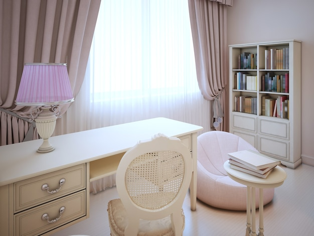 Working place in girl bedroom in classic style