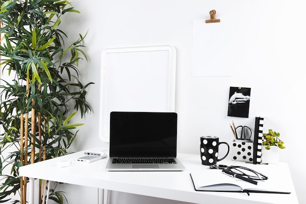 Working place in modern office