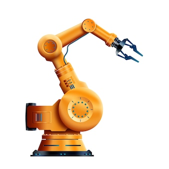 Working robot isolated on white background