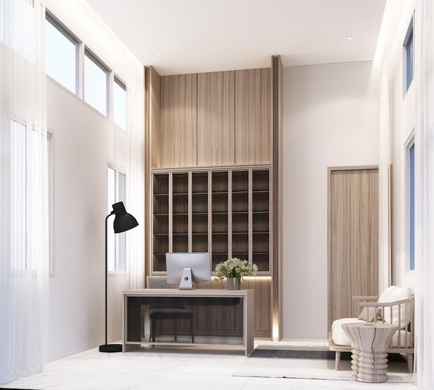 Рабочая комната дома с рабочим столом, компьютером и стулом, книжная полка, встроенный шкаф с гостиной на белом мраморном кафельном полу и чистая 3d-рендеринг