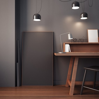Рабочий кабинет и современный офисный интерьер / 3d-рендеринг