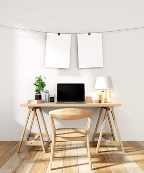 Working room with empty Frame hanging on wall modern minimalist interior
