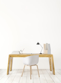 Working space and wooden table, 3d rendering