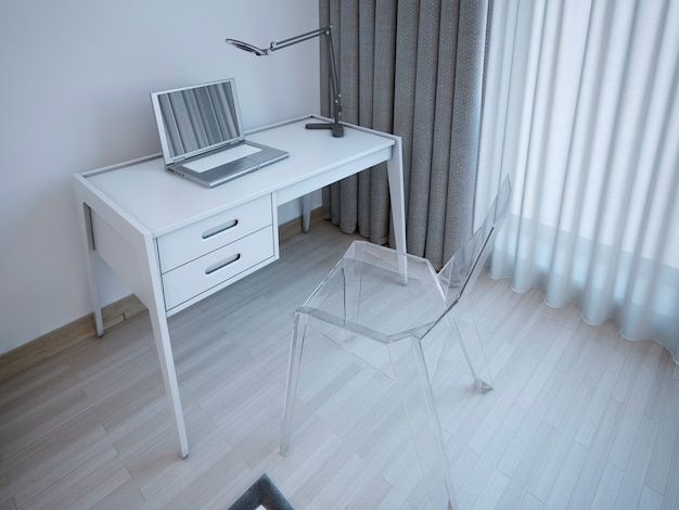 Working table in modern bedroom.