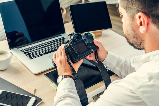Working table of a photographer close up