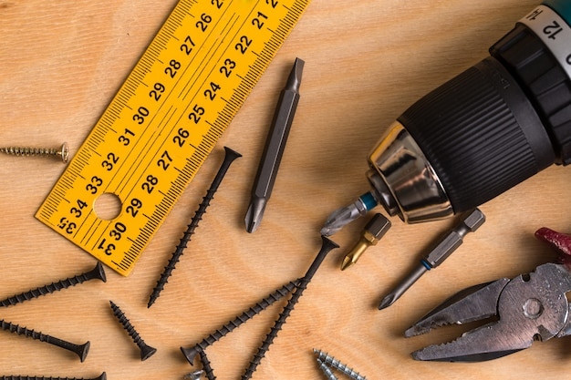 Working tool on a wooden. construction tools.