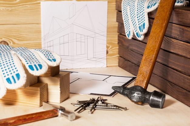 Рабочие инструменты и дизайн дома. концепция обустройства дома.