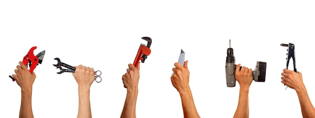 Working tools set collage. isolated on white background.