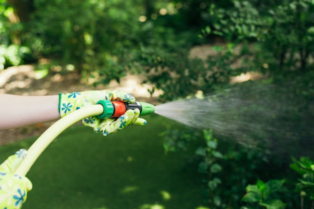 Working watering garden from hose. hand with garden hose watering plants. gardening concept