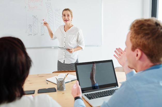Working with business strategy at presentation