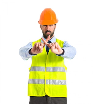 Workman doing no gesture