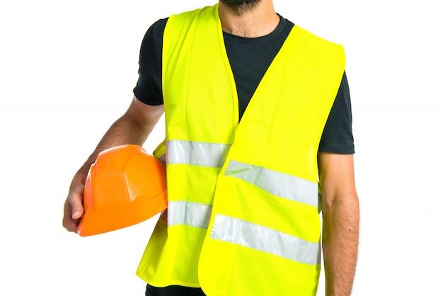 Workman over white background