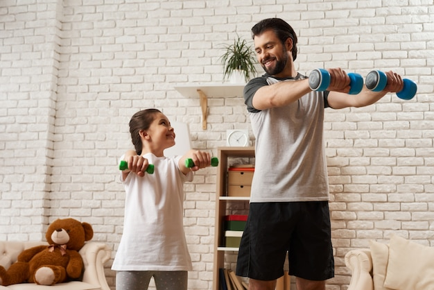 Workout training. sporty family concept.