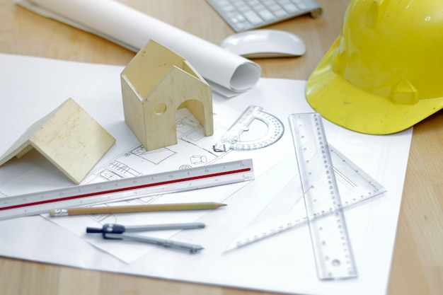 Workplace of architect. architectural plan, technical project drawing, engineering tools