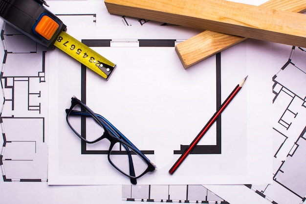 Workplace of architects with tools