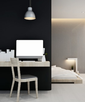 Workplace and bedroom  home or apartment , interior   3