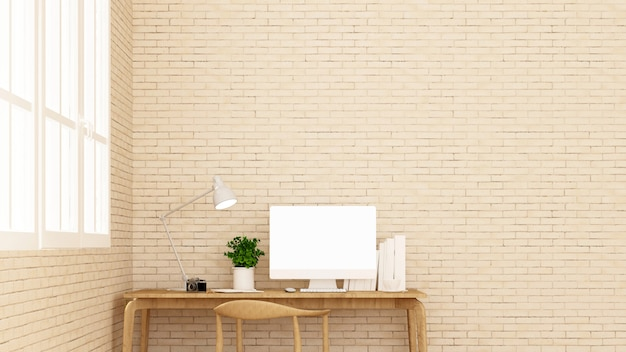 Workplace and brick wall decorate.