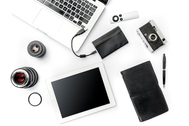 Workplace of business. modern male accessories and laptop on white background