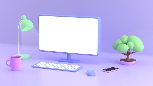 Workplace in cartoon style blank computer screen