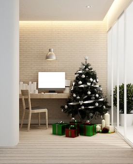 Workplace and christmas tree in apartment or home