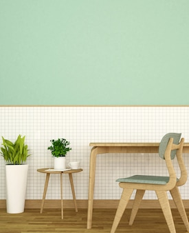 Workplace or dining on white ceramic wall and green wall decorate in home or apartment