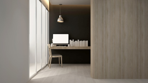 Workplace  hotel or apartment , interior   3d rendering