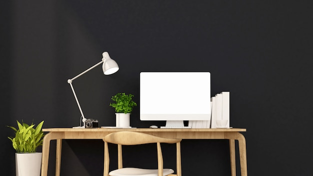 Workplace and light black wall decorate.