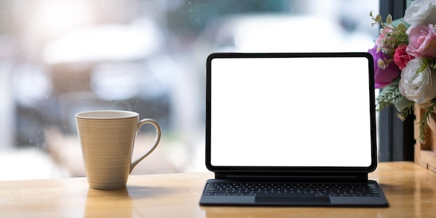 Workplace mockup concept. mock up modern home decor desktop computer.mockup desktop