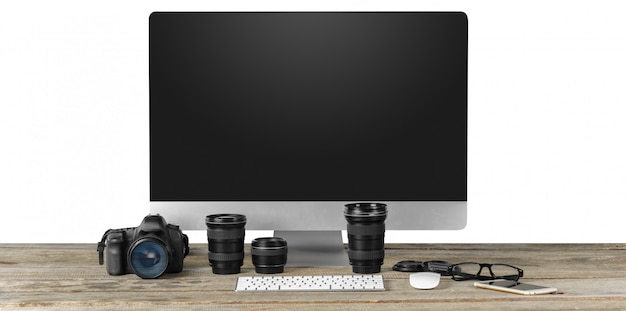 Workplace of photographer with computer