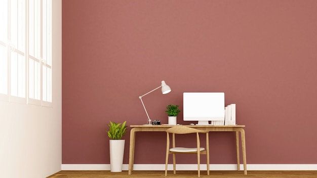 Workplace and red wall decorate.