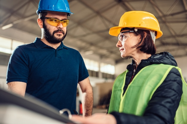 Workplace safety inspector at industrial factory