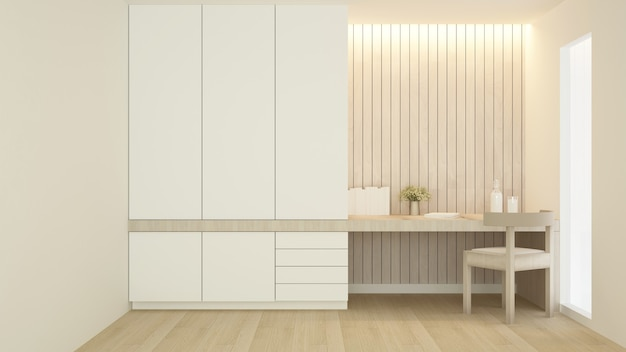 Workplace and wardrobe in condominium or hotel