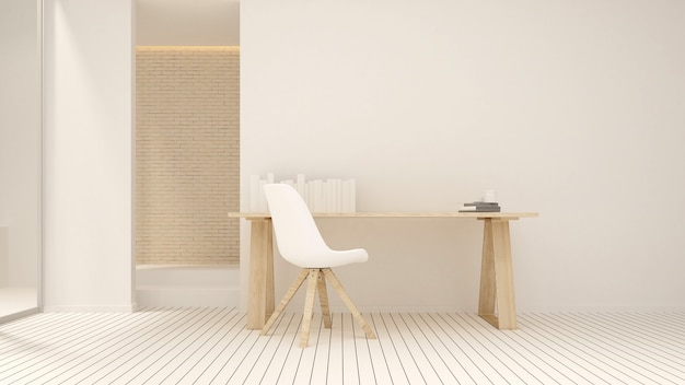Workplace white tone in condominium or small office