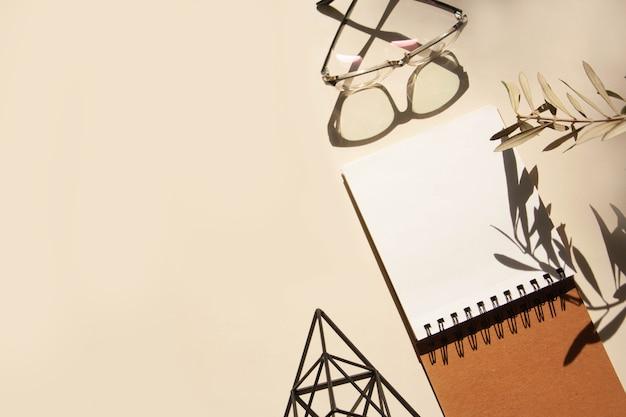 ノートブック、眼鏡、対照的な影のあるオリーブの枝のある職場
